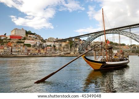 rabelo boats near Dom Luis Bridge (Porto - Portugal)