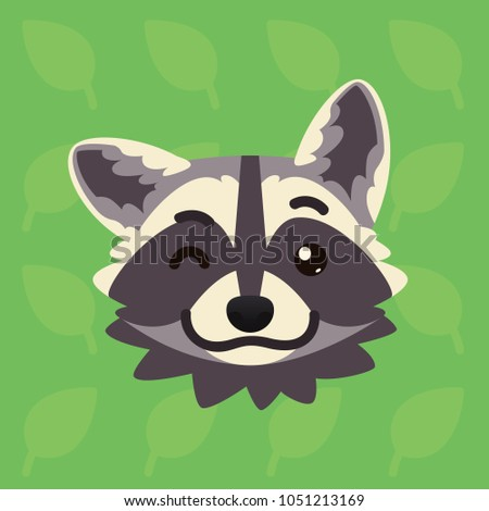 Raccoon emotional head. Illustration of cute coon blinking shows playful emotion. Blink eye emoji. Smiley icon. Print, chat, communication. Grey raccoon in flat cartoon style on green background. Wink.