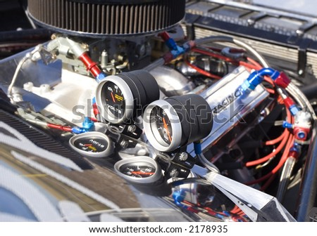 race car gauges with focus on the gauges(shallow dof)