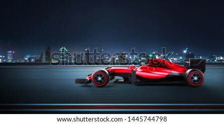 Race car racing at high speed with motion blur on the background. 3D rendering