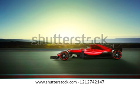 Race car racing at high speed with motion blur on the background during sunrise. 3D rendering