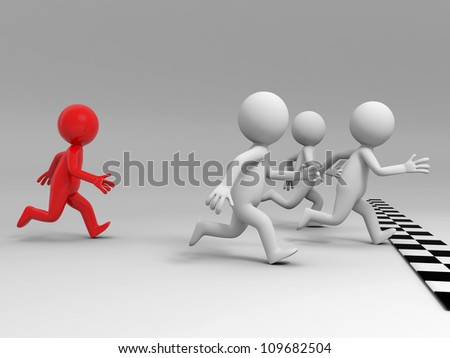 race/competition /win/success/Four people in the race