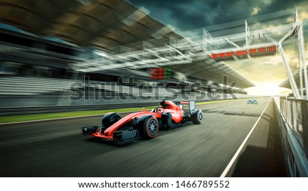 Race driver pass the finishing point and motion blur background. 3D rendering Foto d'archivio ©