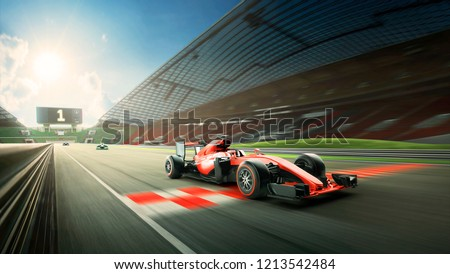 Race driver pass the finishing point and motion blur background during sunrise. 3D rendering