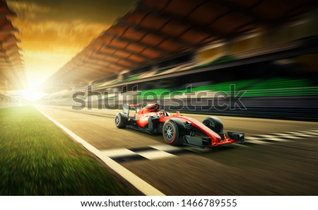 Race driver pass the finishing point and motion blur background during sunset. 3D rendering