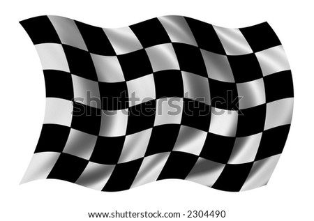 Race flag waving in the wind - with cloth texture - clipping path included