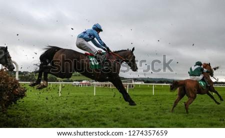 Race horses and jockeys jumping over a hurdle