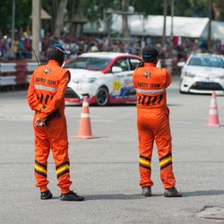 Race marshall stand guard