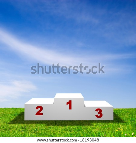 Race Podium on green field with blue sky.
