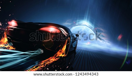 Race to the Portal - high speed futuristic car speeding (with grunge overlay) - 3D illustration