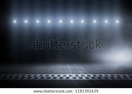 Race track finish line racing on night #1181392639