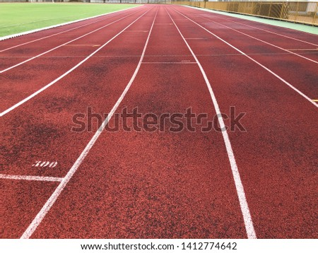 Race track in the stadium , Track running lanes.