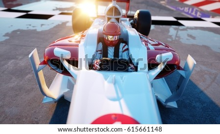 Racer of formula 1 in a racing car. Race and motivation concept. Wonderfull sunset. 3d rendering. Photo stock ©