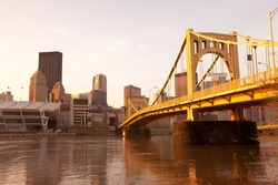Rachel Carson Bridge over the Allegheny River downtown city skyline , Pittsburgh, Pennsylvania, United States.