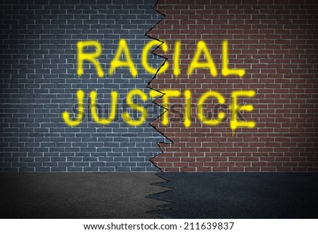 Racial justice and fighting discrimination concept and race relations social issue symbol as graffiti writing on a two toned brick wall as an icon of working together for civil rights.