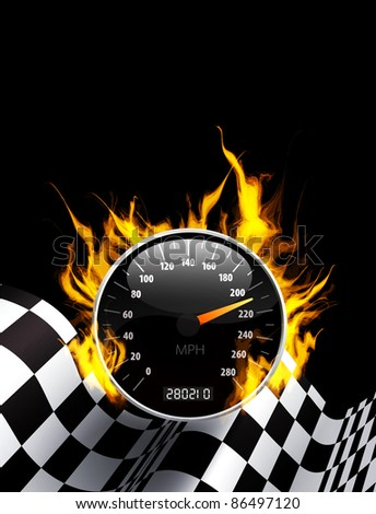 Racing Background with burning speedometer and checkered flag