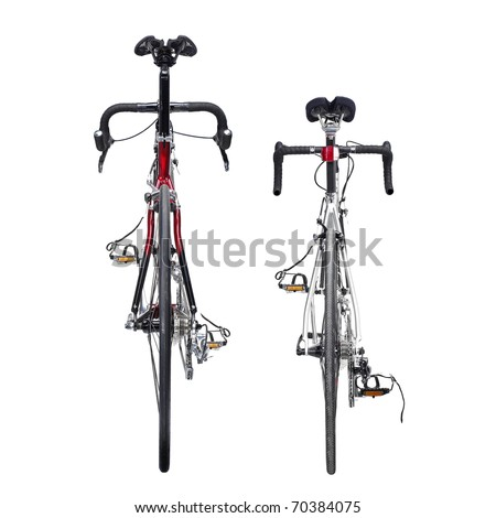 Racing bikes. Studio photo of racing bikes, isolated on wgite background.