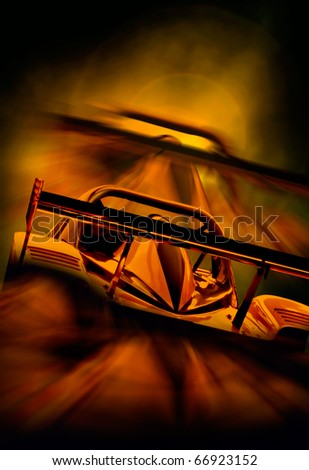 racing car driving into the sunset. Abstract composition with speed