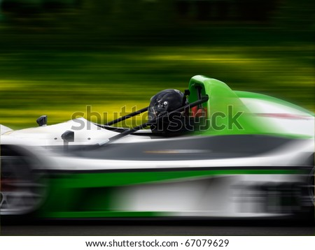 Racing car moving fast