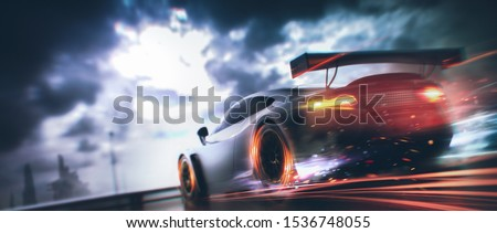 Racing Car scene - with motion blur and grunge overlay - rear taillights view - 3d illustration Stockfoto ©