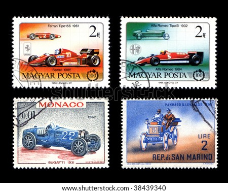 Racing Cars on postage stamps