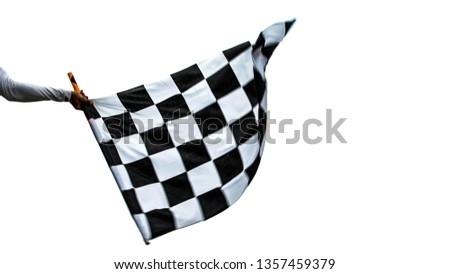 racing checkered flag isolated on white background.