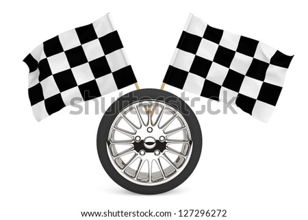 Racing Concept. Wheel with racing flags on a white background - stock photo