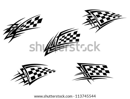 Racing flags in tribal style for tattoo design, such a logo template. Vector version also available in gallery
