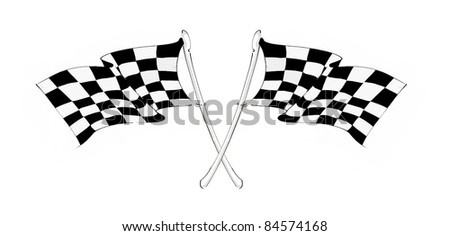 racing flags on white background