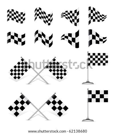 Racing Flags set. Rotating 45 degree
