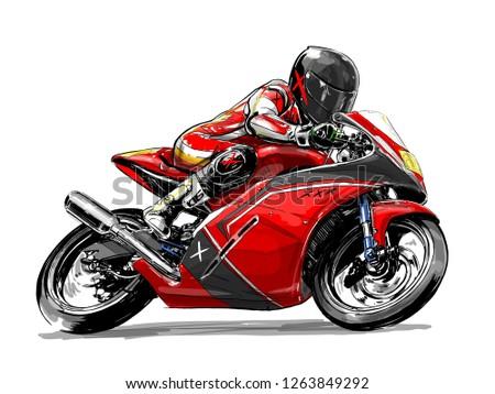 racing motorcycle sletch illustration