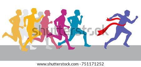 Racing people and winning runner marathon competition concept. Sport run competition with athlete, run race marathon illustration
