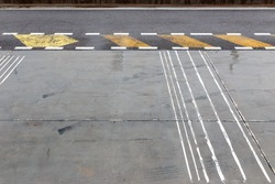 Racing track pit lane asphalt in the rainy day