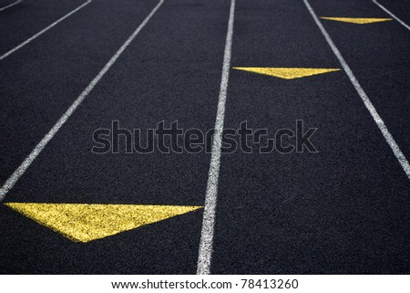 Racing Track with Yellow Marks
