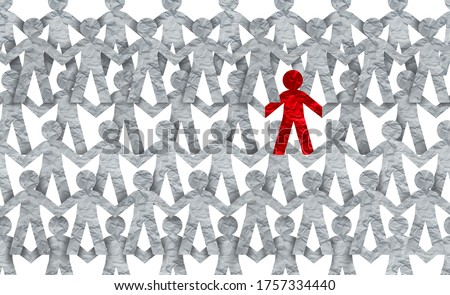 Racism symbol or individuality icon or a contagious and infectios person self isolating or social distancing issue in a crowd 3D illustration style. Foto stock ©