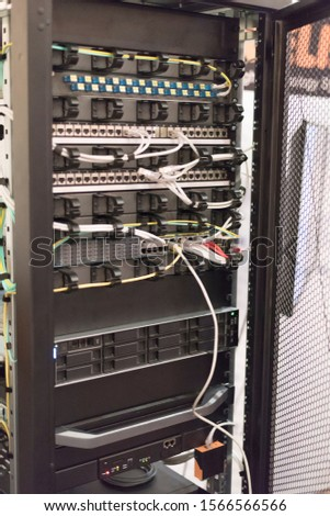 Rack Mounted Servers In A Server Room, close up