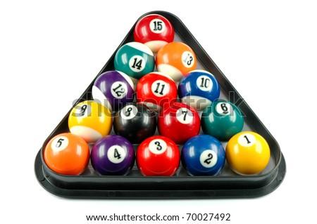 Rack with billiard balls