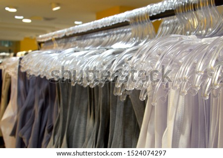 Rack with clothes in a clothing store