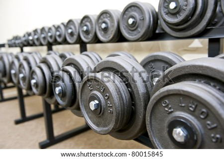 Rack with dumbbells in gym.