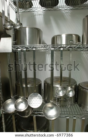 Rack With Inox Professional Kitchen Equipment Stock Photo 6977386