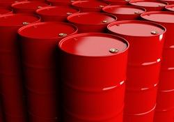 Racks of red barrels. Storage of chemicals. Transportation of barrels.