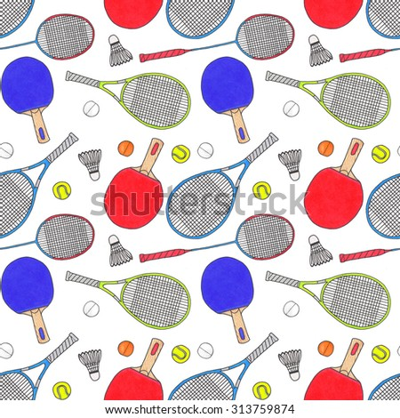 Racquets, balls and shuttlecocks. Seamless watercolor pattern with sport equipment. Hand-drawn original background. Real watercolor drawing.