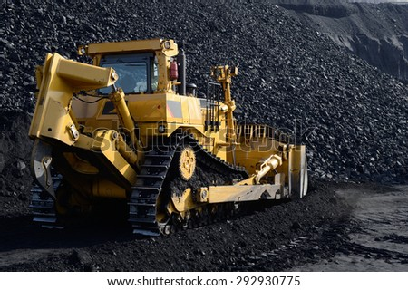 ractor, bulldozer, powerful, push land, machinery, mining, black gold