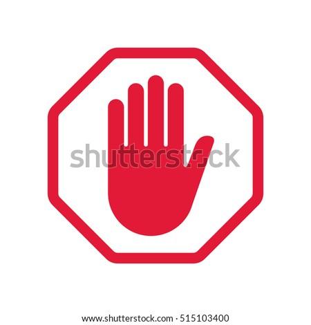Rad hand blocking sign stop