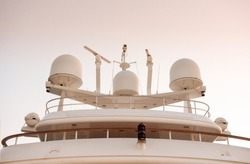 Radar,communication and Navigation system tower on a luxurious yachts.