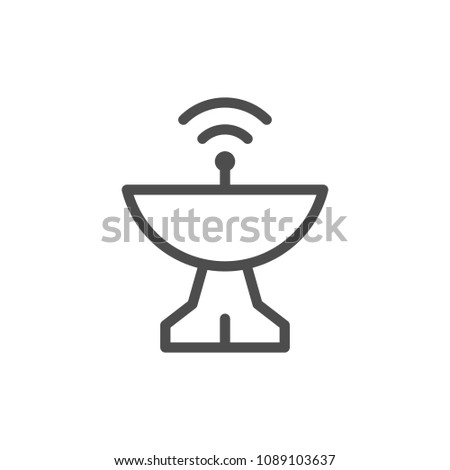 Radar dish line icon isolated on white
