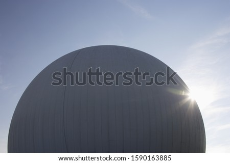 Radar dome under blue sky, Raisting, Bavaria, Germany