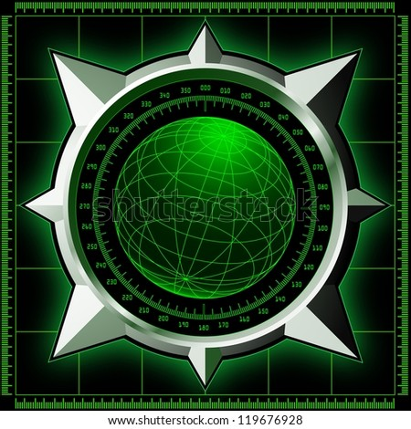 Radar screen. Digital globe inside steel compass rose. Raster illustration.