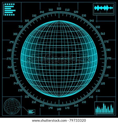 Radar screen. Digital globe with scale. Raster illustration.