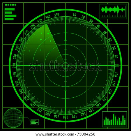 Radar screen. Raster copy of vector illustration.